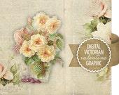Digital Valentine Flowers Diecut - Antique Vintage Valentine Diecut Graphic - Victorian Flowers - Printable - INSTANT DOWNLOAD