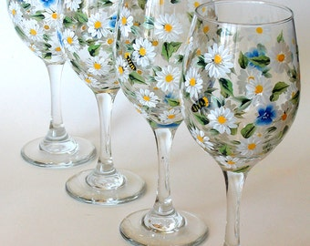 Set of 4 Hand Painted Wine Glasses White Daisy Forget-me-not Flowers Bees Hand Painted Glassware Stemware Painted Glass Custom Wine Glasses