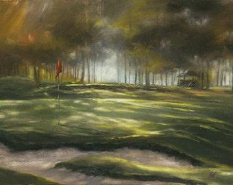 Golf Art. Sports Decor. Golf Gift. Hickory Hills Golf Course, Ohio, Hole #3. Print of original acrylic painting