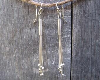 Silver Tassle Earrings by Gary Klehr