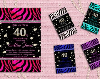 Elegant Zebra and Diamands Women's Birthday Invitation - Sweet 16, 21st, 30th, 40th, 50th, 60th, 70th, 80th, 90th - Bridal Shower- Printable
