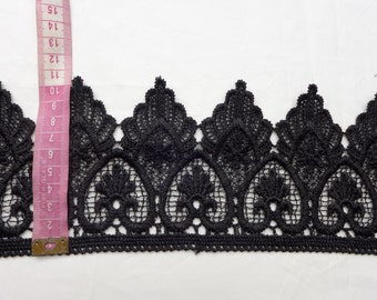 10.5 cm Black lace trim for dress Shawls, scarves, hats..sales by the yard
