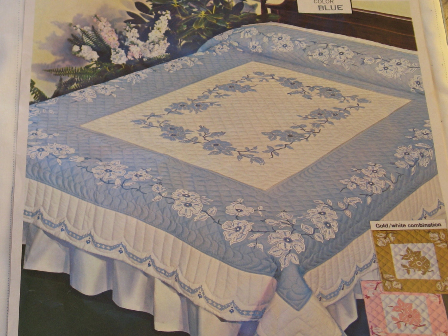 Paragon 01168 Kit Vintage Double Bed Size Blue White Quilt