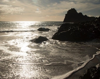 Kynance Cove, contre jour. Signed, archival giclée prints, guaranteed fade-resistant for 75years, of landscapes of Cornwall, UK.