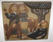 Michael Andersen and Marianne Starck Large Wall Relief of Three Fruit Pickers with Donkey. Wonderful Example, 33 cm x 29 cm.