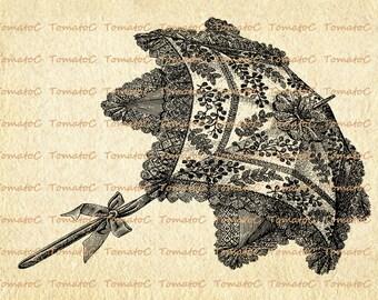 Antique Sun Umbrella Digital Image Download for Transfer Tea Towel Totes Pillows Burlap Print on Paper Invitation.T119