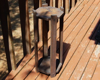 Vintage Tall Wooden Plant Stand 2 Tier Wood Plant Stand