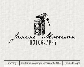 Bird on camera  photography logo - Eps and Png file watermark - Premade custom logo - vintage bird holding key  logo for photographers