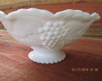 Vintage Footed Milkglass Fruit Bowl