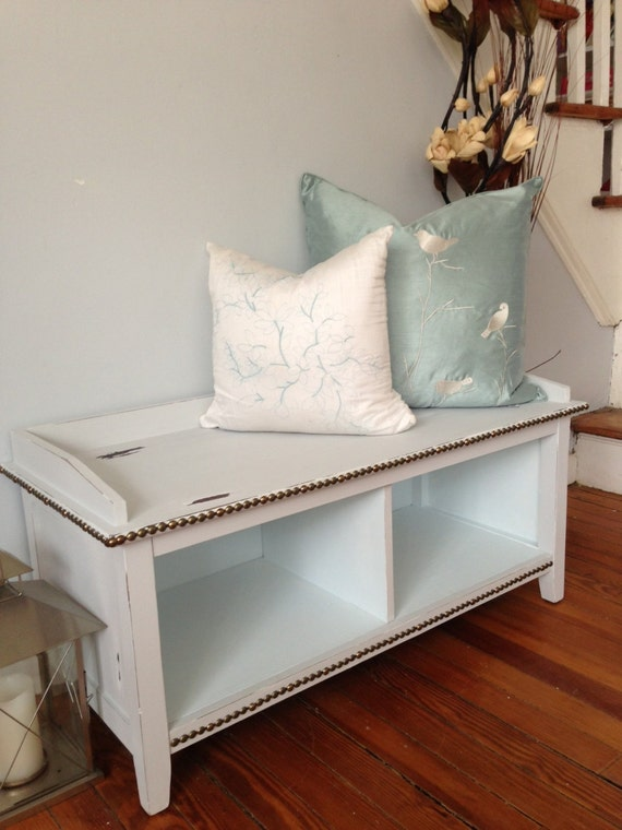 Distressed Foyer Bench : Cottage chic entryway bench distressed cubby holes
