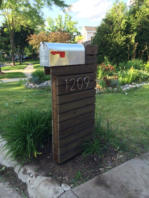 Modern mailbox dark walnut for Best mailbox design