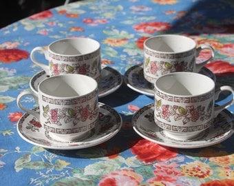 Vintage 1960's Staffordshire Broadhurst Ironstone Indian Tree teacups and saucers (4)