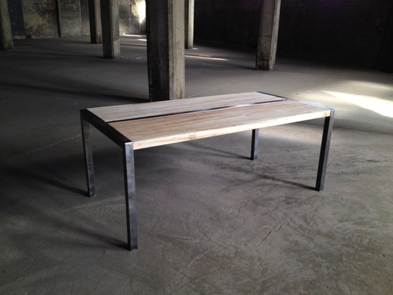 Items Similar To Wood And Metal Coffee Table With Custom Steel Frame On Etsy
