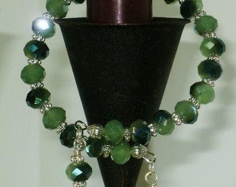Two-tone Green & Silver Bracelet