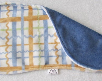 Burp Cloth - Blue Burp Cloth - Plaid Tan Burp Cloth - Minky Burp Cloth - Modern Burp Cloth