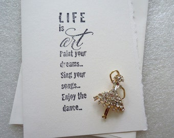 Handmade 3D Inspirational Blank Stamped Card with Ballerina Brooch Gift