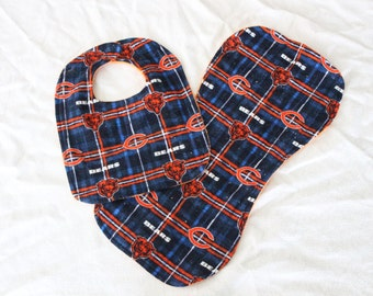 MARKED DOWN!! Chicago Bears Inspired Bib and Burp Cloth Set