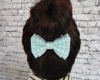 Green and White Checks Cotton Fabric Hair Bow For Girls Hair Accessory Barrette Alligator
