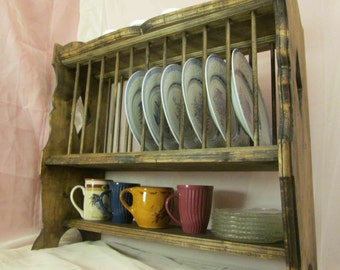 Plate Rack, French Provincial Style, Hanging & Free-Standing ~ Stained. *Free Shipping*