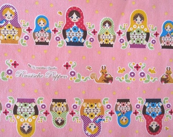 SALE-2 Colors-Fat Quarter of Kokka November Books Russian Doll Matryoshka, Made in Japan