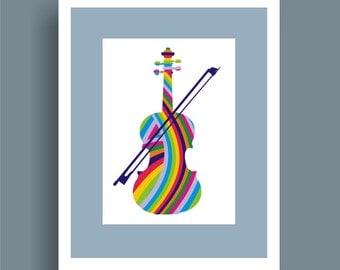 Rainbow Violin - Pop Art Original Print by C Wiedenheft  comes with a white mat and ready to frame.