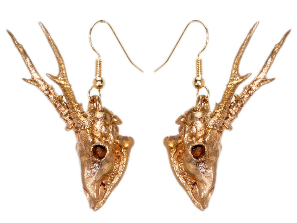 antler earrings roe deer skull antler jewelry bronze animal