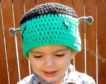 Crochet Frankenstein Hat, Halloween Monster hat, Monster beanie, Frankenstein Wig, Frankenstein Costume, Child Frankenstein Hat