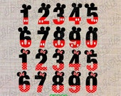 Mickey and Minnie Mouse numbers clipart INSTANT DOWNLOAD UPrint  by greenmelonstudios
