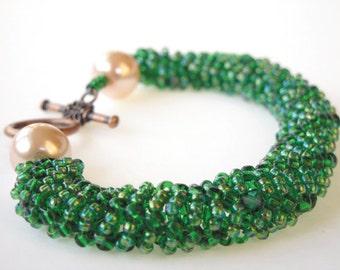 Green seed bead woven bracelet