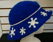 100% Alpaca Fiber Sapphire Blue Snow hat
