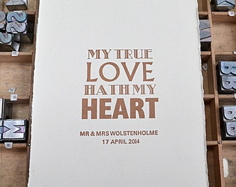 Personalised True Love Letterpress Print