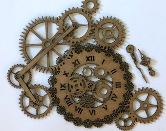 Steampunk clock and gear with clock hands Laser Cut Chipboard FREE SHIPPING! in US and Canada