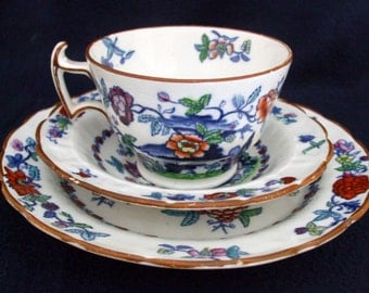 Antique Booths Pompadour Pattern Trio C 1907 -1920 Matching Tea Cup Saucer and Plate.