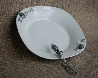 Grey Metallic Beads, Serving Plate, Wire Accented Dish