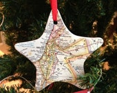 CUSTOM Map Christmas Ornament - Choose Your Map - Great Wedding Favor / Gift for Teacher / Adoption / Engagement / Vacation / Going Away