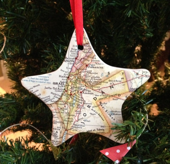 Personalized Handmade Christmas Gift Guide: Items Similar To CUSTOM Map Christmas Ornament