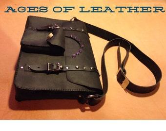 Leather black mesanger bag