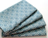 Cloth Napkins, Dinner Napkins, Everyday Napkins, Table Napkins, Modern Napkins - Set of 4 - Blue Tile Pattern