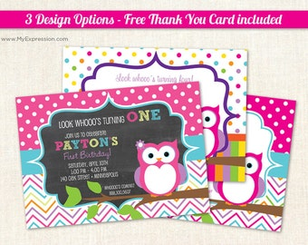 Cute Owl Polka Dots Birthday Party Invitations with Chalkboard, Stripes or Chevrons  - 3 Design Options - Printable