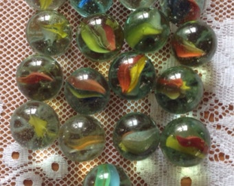 A Selection Of 21 Vintage Large (2cm) Glass Marbles