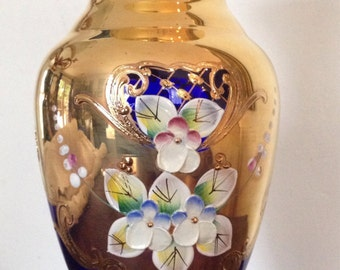 Bohemian Cobalt Crystal Hand Painted Crystal Vase Boxed