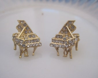 Gold Piano Earrings - Stud Earrings - Rhinestone Piano Earrings -  - Music Jewelry - Music