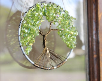 Green Tree of Life 4 inch Wire Tree Wall Hanging