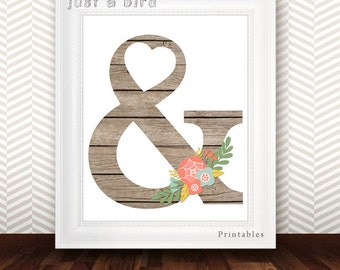 Wooden Ampersand Printable - Floral Ampersand Poster - Beige Modern Wall Art Typography Poster Print, Beige nursery decor - INSTANT DOWNLOAD