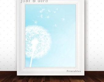 Dandelion art print, nursery art printable, aqua blue nursery decor, aqua wall art, flower art - INSTANT DOWNLOAD