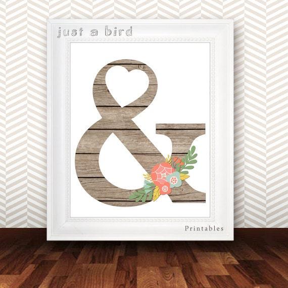 Wooden ampersand printable floral ampersand poster beige for Ampersand decoration etsy