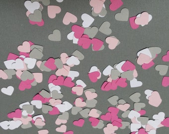 200 hand punched hearts confetti- pink, white, hot pink, gray