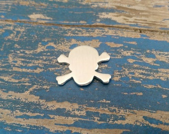 Aluminum Skull and Crossbones Stamping Blanks - 14 Gauge Aluminum Blanks - Qty 100