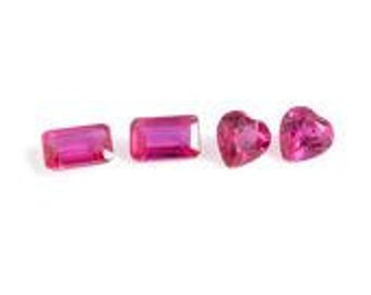 Ruby Synthetic Lab Created Set of 4 Loose Gemstones Octagon and Heart Cut 1A Quality 5x3, 5x4mm Mix mm TGW 1.25 cts.