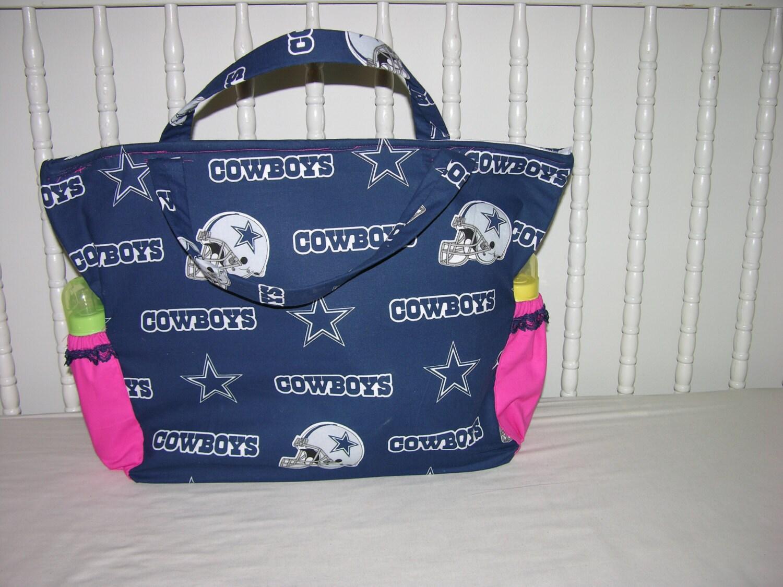Cowboy Diaper Bags : New diaper bag m w dallas cowboys pink fabric navy lace